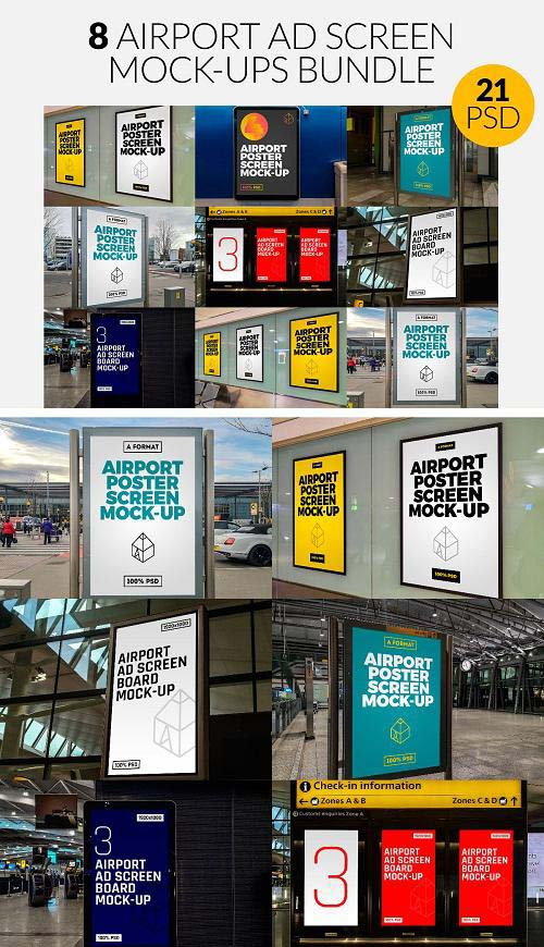 8 Airport Ad Screen Mock-Ups Set - 3753297