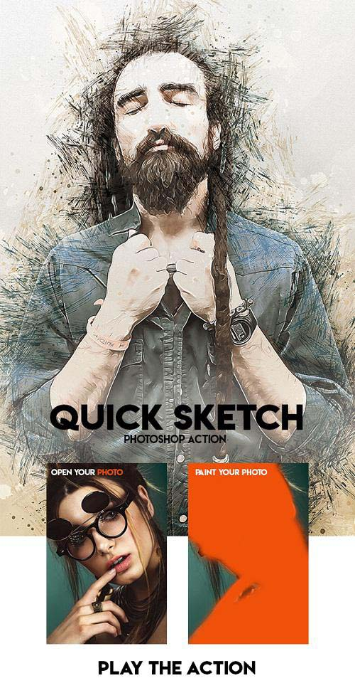 Quick Sketch Photoshop Action 23697407