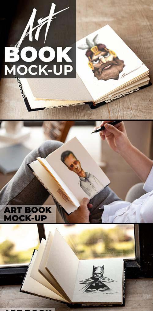Realistic Artbook PSD Mockups