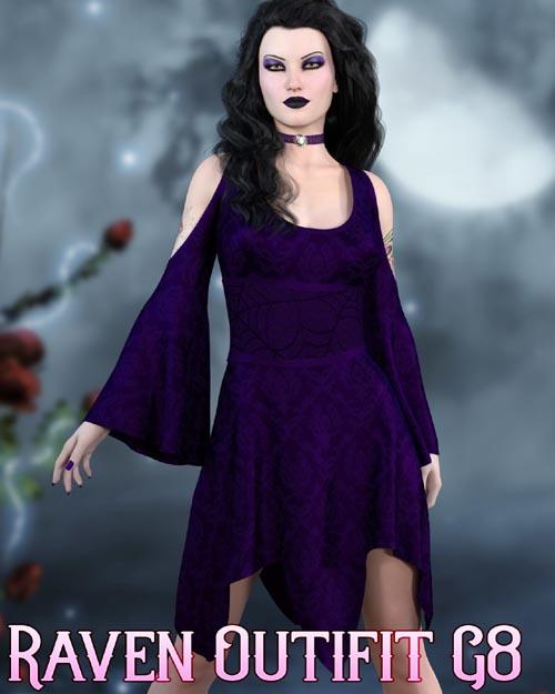 dforce - Raven Dress - Genesis 8