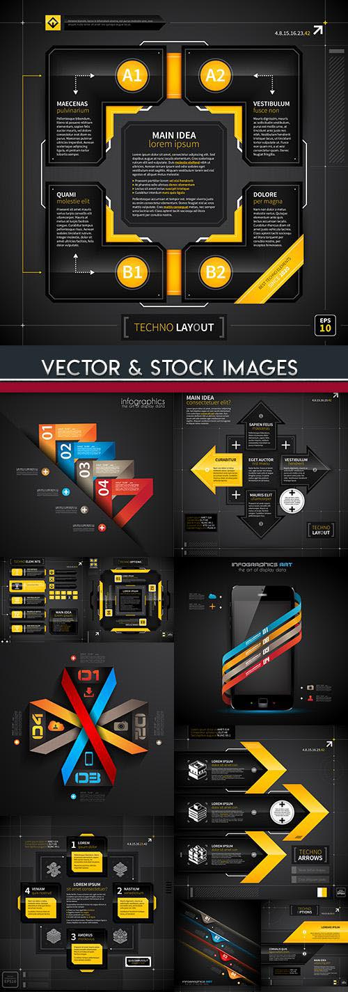 Business infographics options black elements collection 67