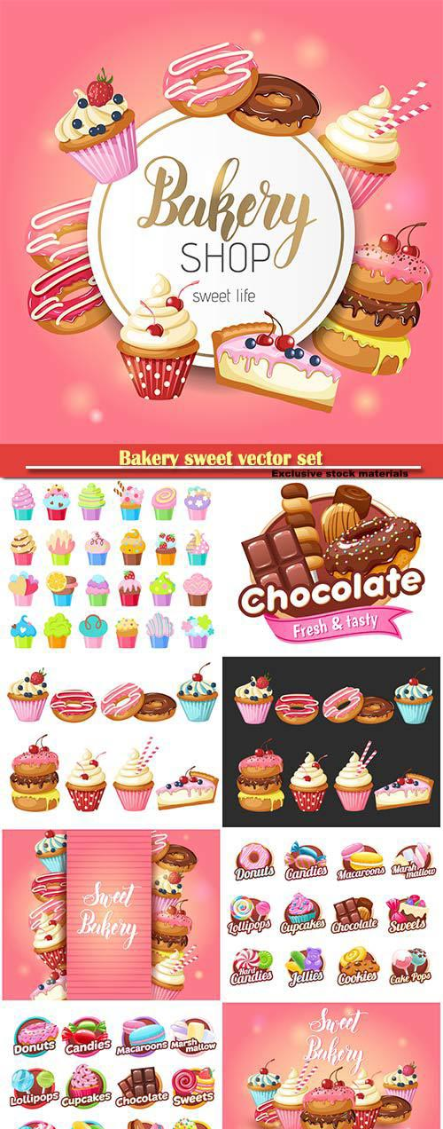 Bakery sweet vector set