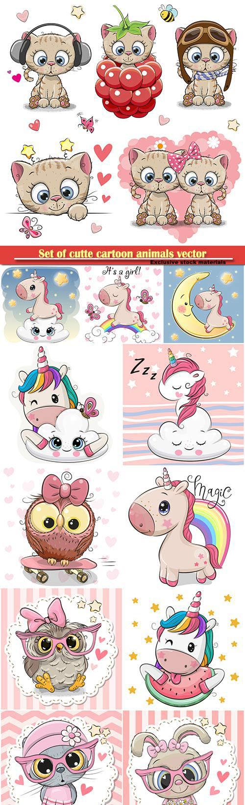 Set of cutte cartoon animals vector illustration