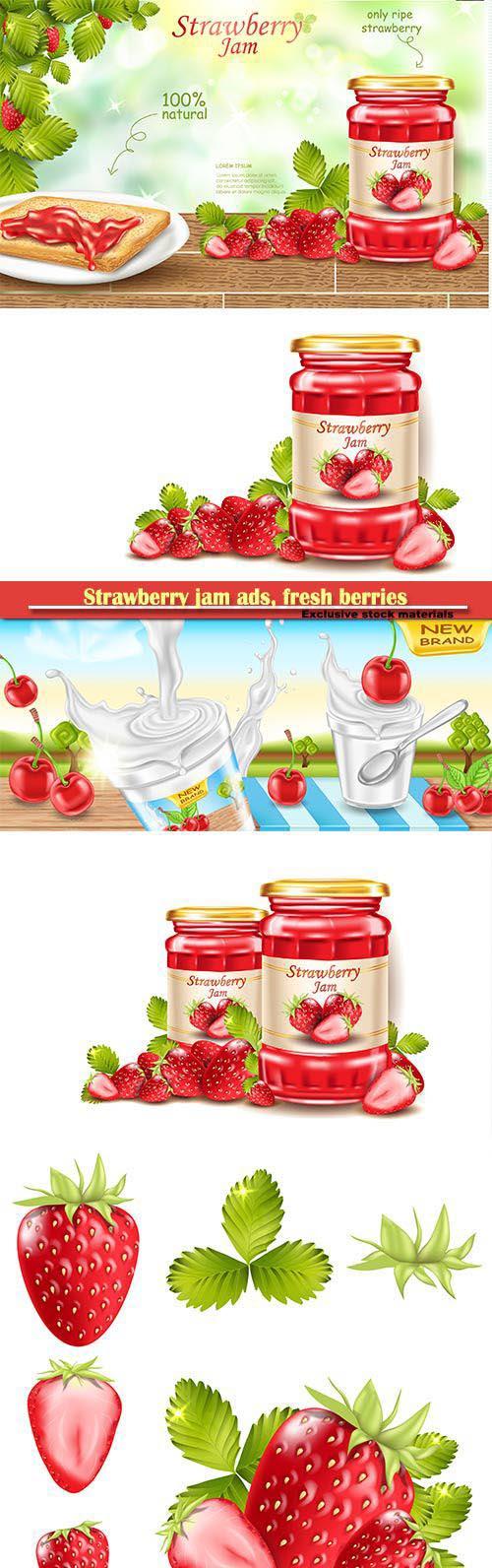 Strawberry jam ads, fresh berries realistic 3d illustration