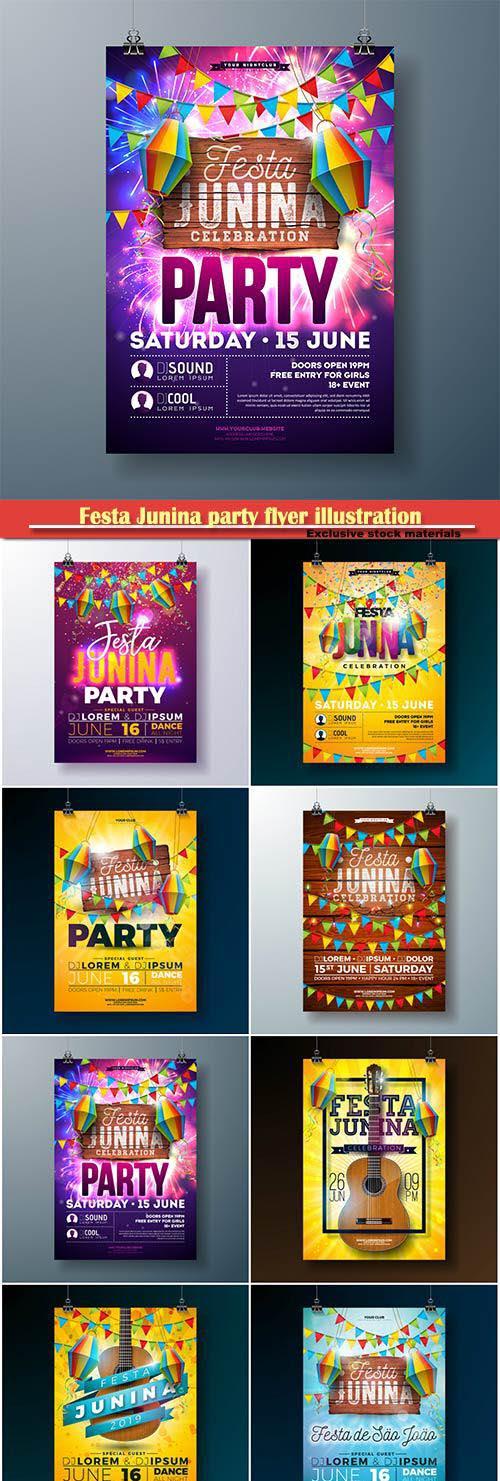 Festa Junina party flyer illustration, vector Brazil June Festival