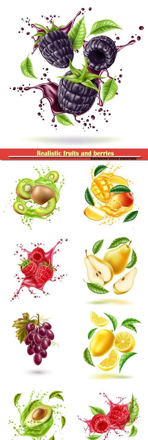 Realistic fruits and berries, fresh juice splash