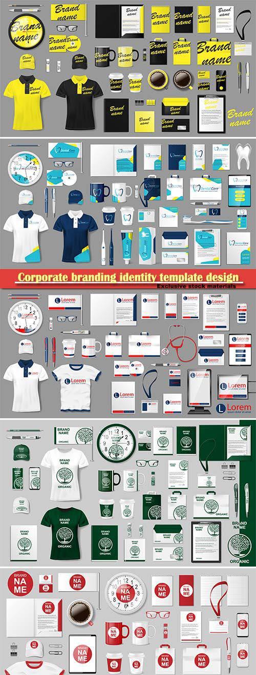 Corporate branding identity template design, modern business stationery mockup set