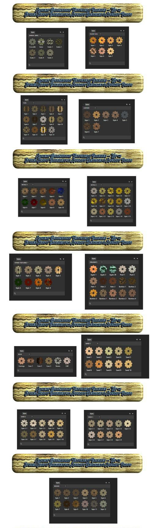 Ancient Civilizations Styles & Palettes for Affinity Photo & Affinity Designer Kit #1