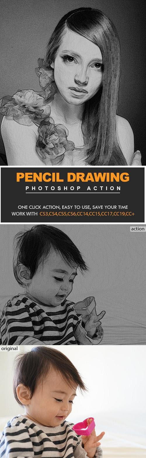 Pencil Drawing Photoshop Actions 23969859