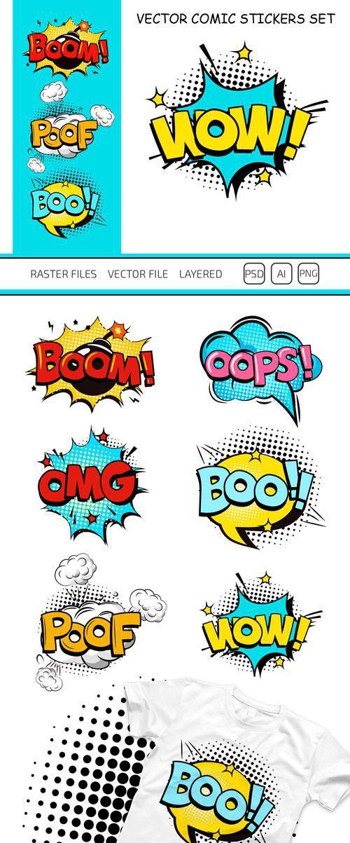 6 Comic Stickers in Vector
