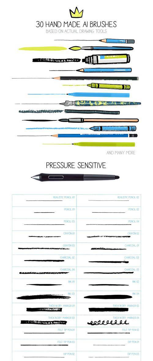 30 Hand Made & Pressure Sensitive Brushes For Illustrator