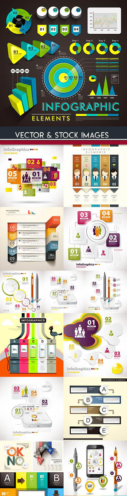 Business infographics options elements collection 76