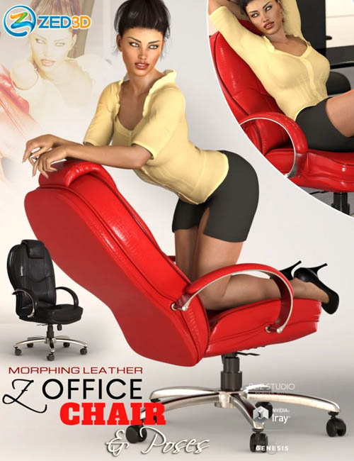Z Morphing Leather Office Chair & Poses for Genesis 3 and 8