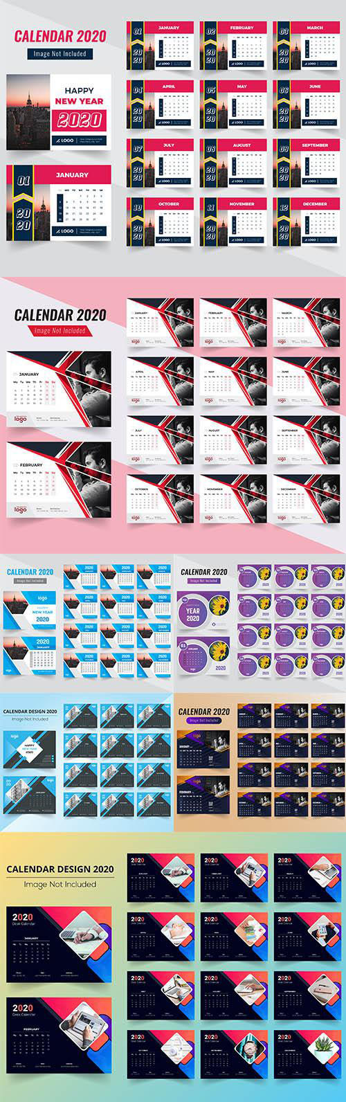 Desk Calendar 2020 Vector Pack vol.2