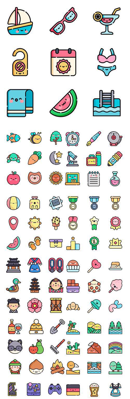 450+ Kawaii Lineal color Vector Icons Set