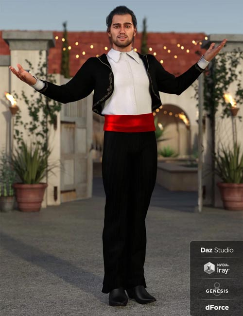 dForce Bolero Style Outfit for Genesis 8 Male(s)