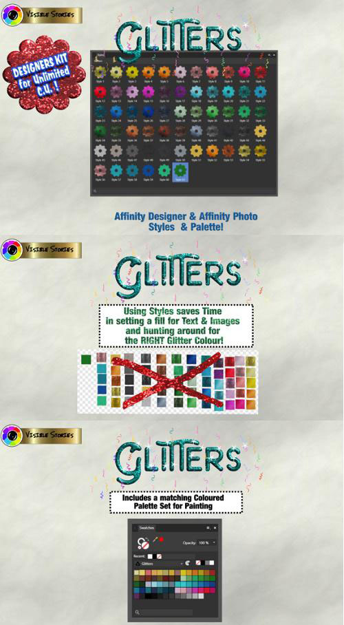 Glitters Designers Kit for Affinity Photo & Affinity Designer