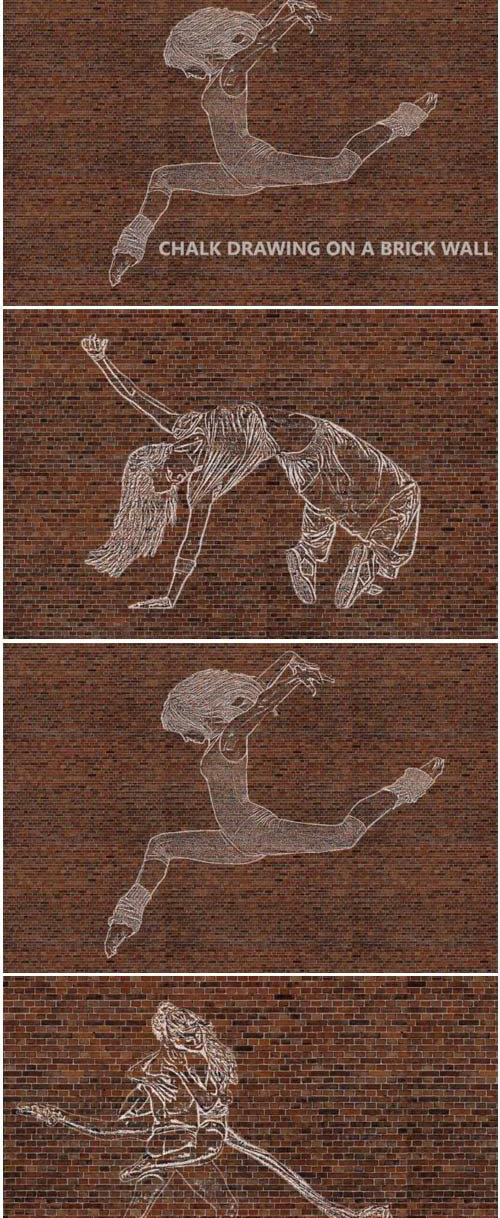 Chalk Drawing on Brick Wall - Ps Action 1760741 - 3767761