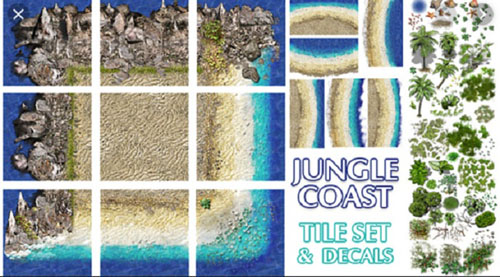 Cubebrush - 2D Jungle Coast Tile Set and Decals