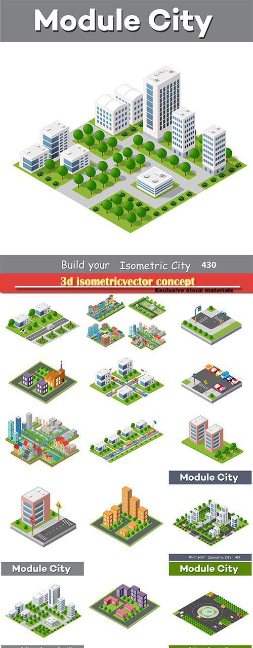 3d isometricvector concept