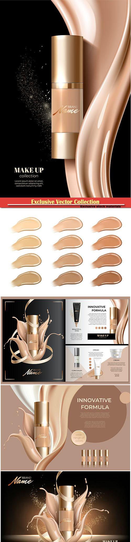 Advertising poster for cosmetic product for catalog, magazine, foundation cream, concealer, base, BB...