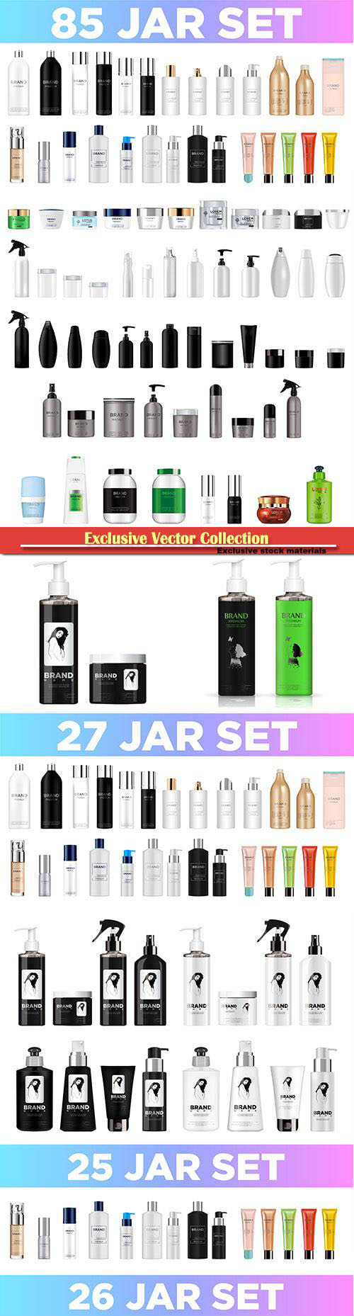 Set of jars for cosmetics in vector