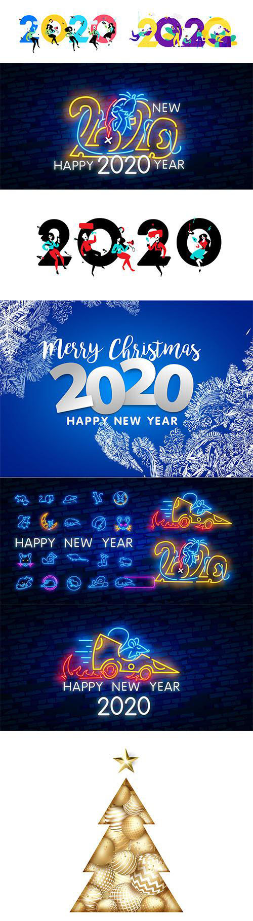 Merry Christmas and Happy New Year 2020 Illustrations Vector Set 1
