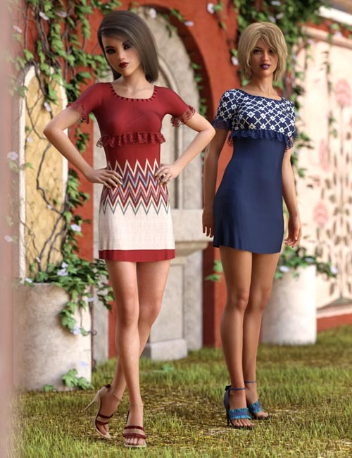 dForce Ruffle Knit Outfit Textures
