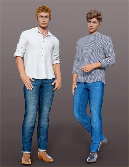 dForce H&C Mandarin Collar Shirt Outfit for Genesis 8 Male(s)
