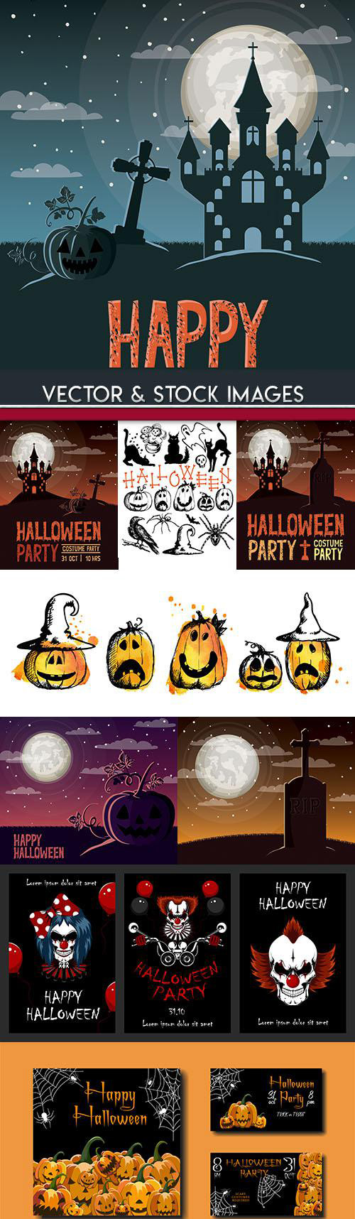 Happy Halloween holiday illustration collection 28
