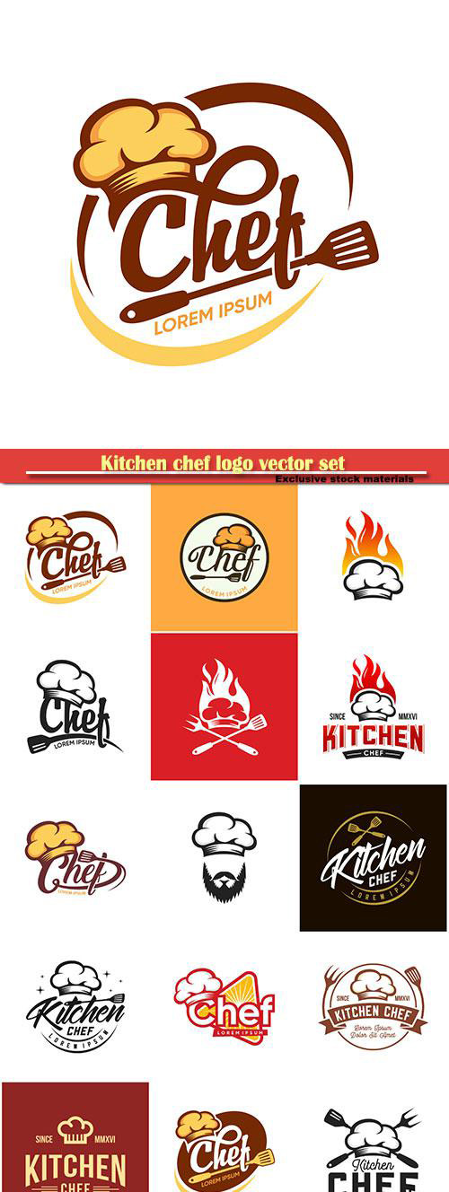 Kitchen chef logo vector set