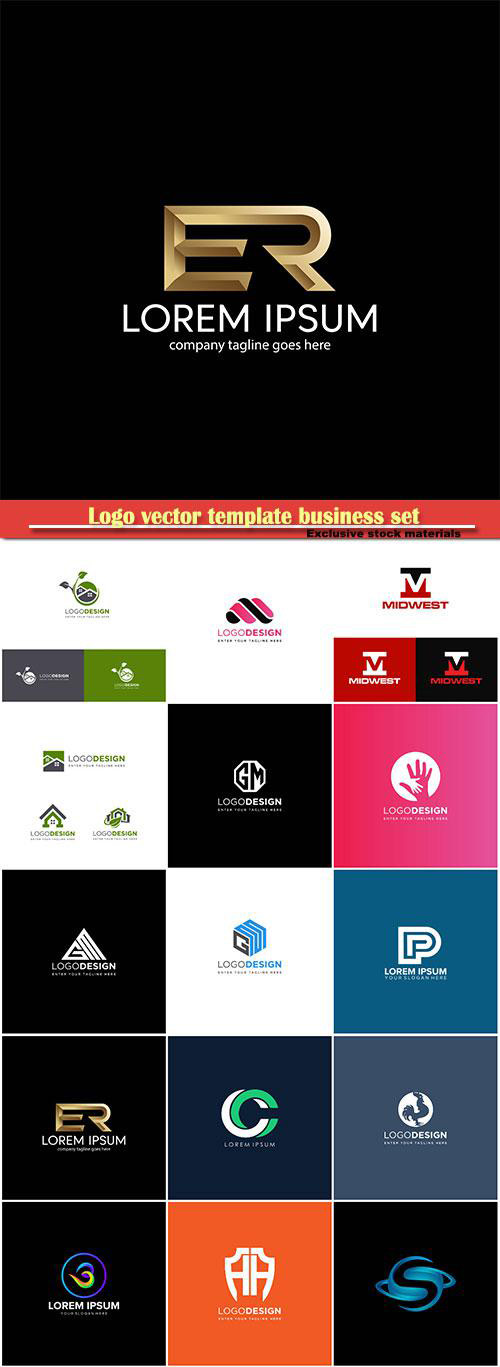 Logo vector template business set # 14