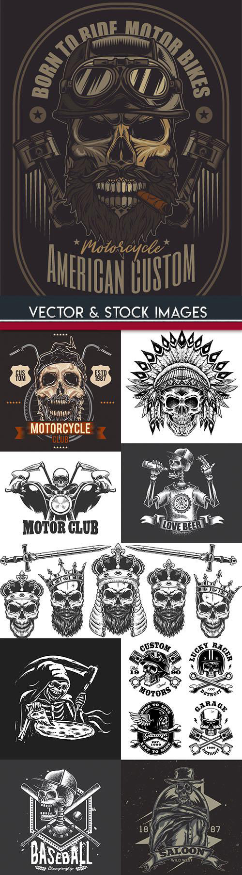 Grunge skull and motorcycle design template 2