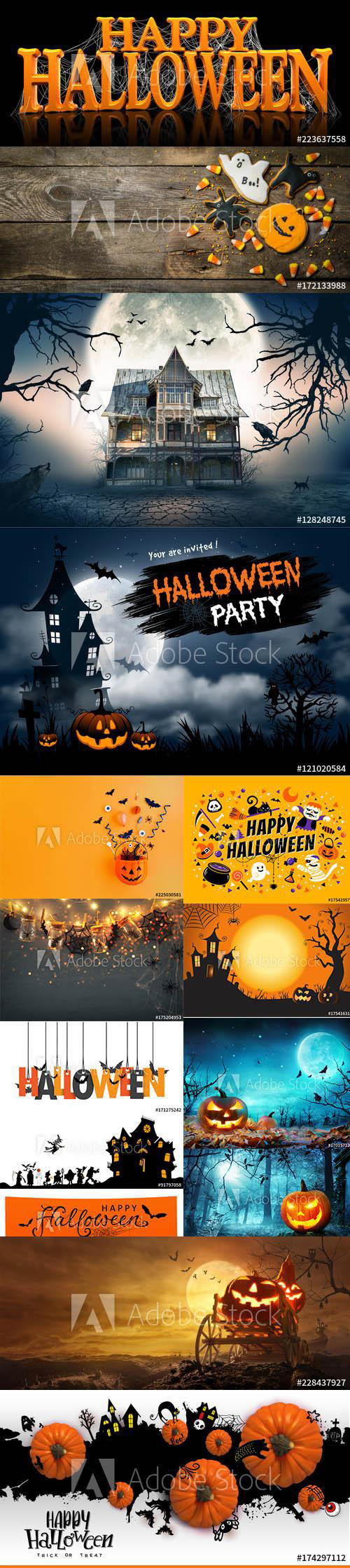 Happy Halloween Background and Elements set vol3