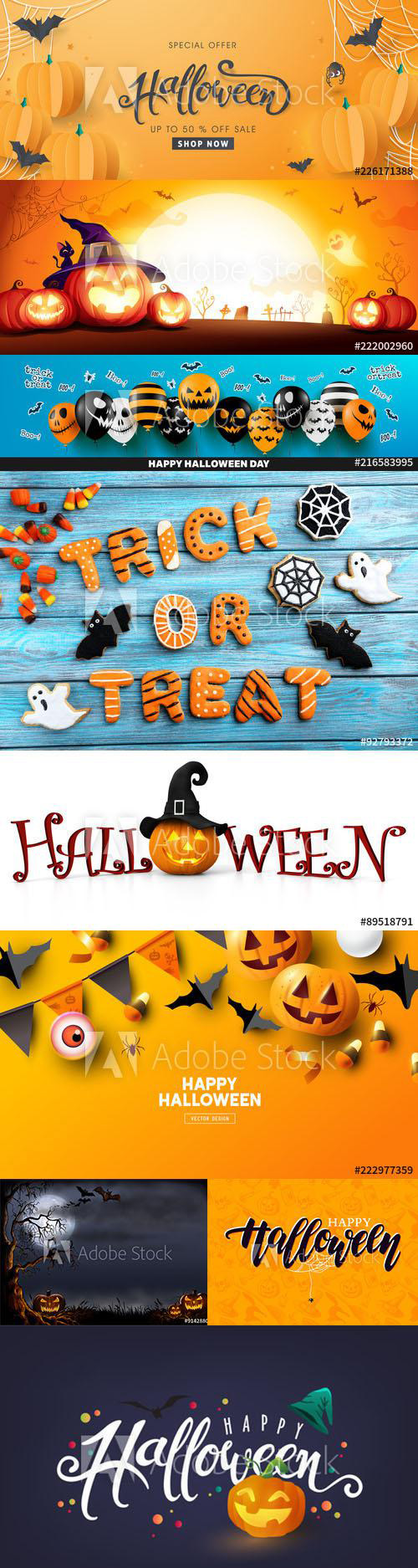 Happy Halloween Background and Elements set vol2