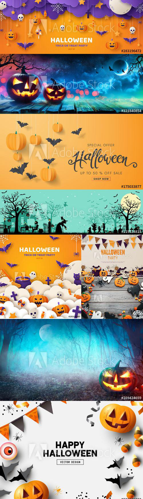 Hand drawn Happy Halloween card, symbols and Illustration Collection