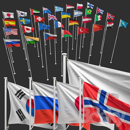 Flags of the countries of the world (8 flagpoles, 32 flags)