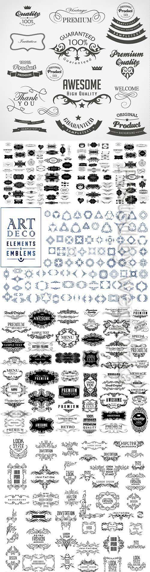 Set calligraphic floral design elements