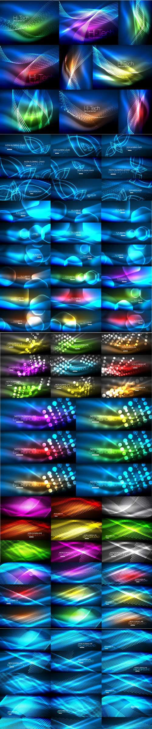 Mega collection of neon glowing waves # 4