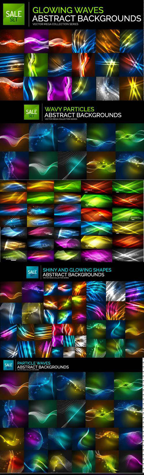 Mega collection of neon glowing waves