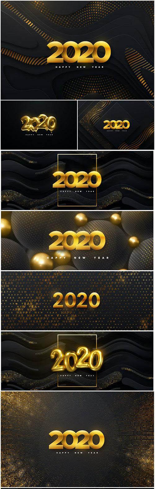 Happy New 2020 Year, vector holiday illustration