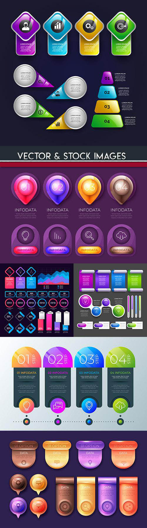 Business infographics options elements collection 110