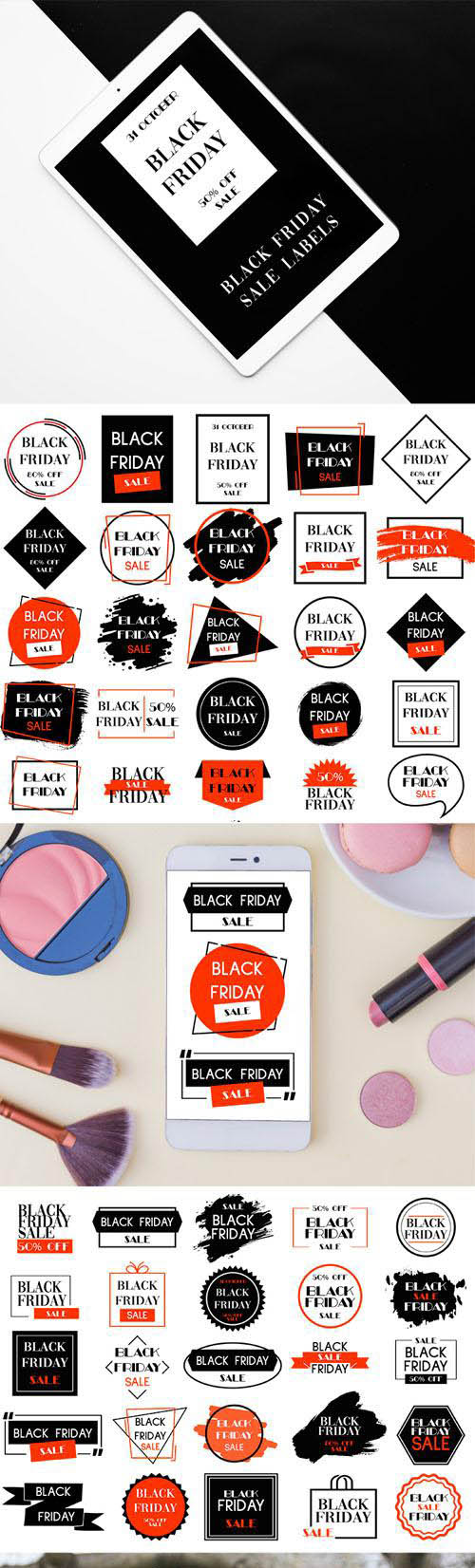 50 Black Friday Sale Labels Collection [Ai/PSD]