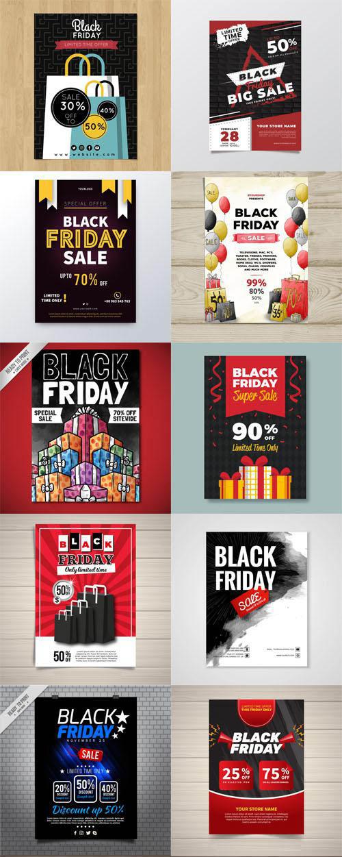 Black Friday Sales Flyers Vector Collection Vol.1