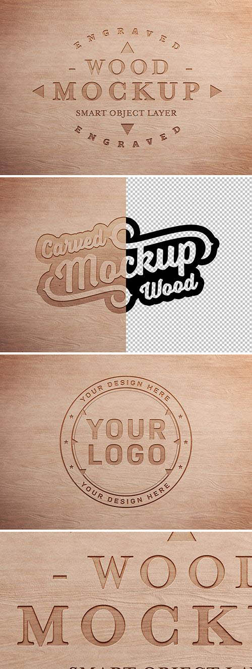 Engraved Wood Text Effect Mockup 304758134 PSDT