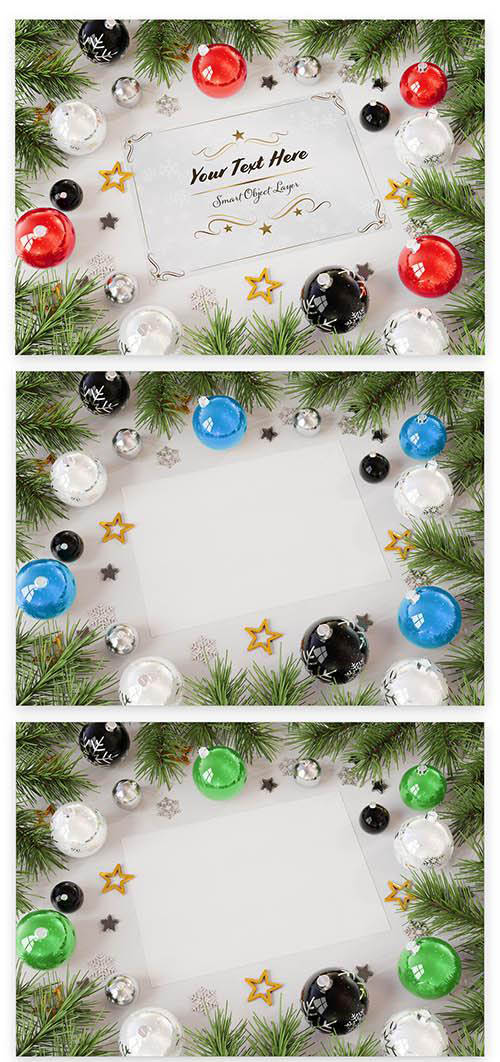 Christmas Card with Ornaments Mockup 228589589 PSDT