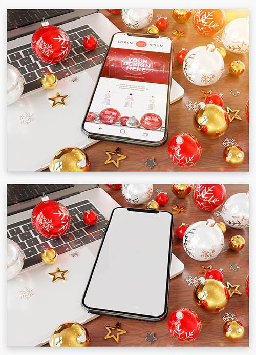 Smartphone near Holiday Ornaments Mockup 222041466 PSDT