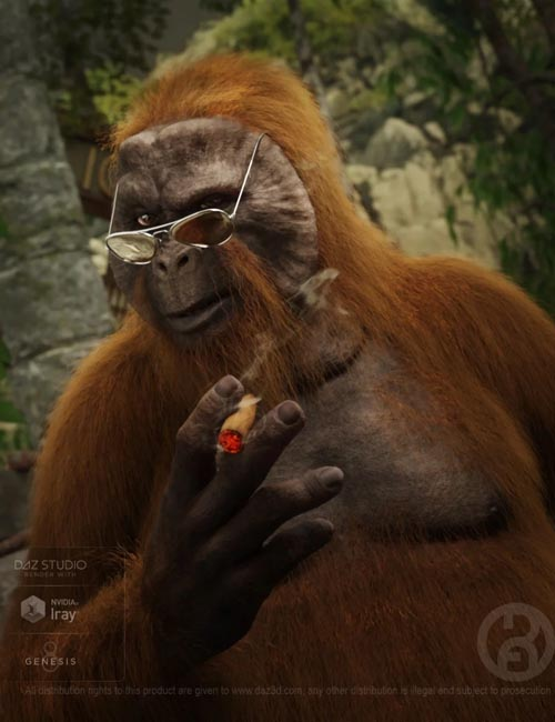 Ape World Orangutan with dForce Hair for Genesis 8 Male