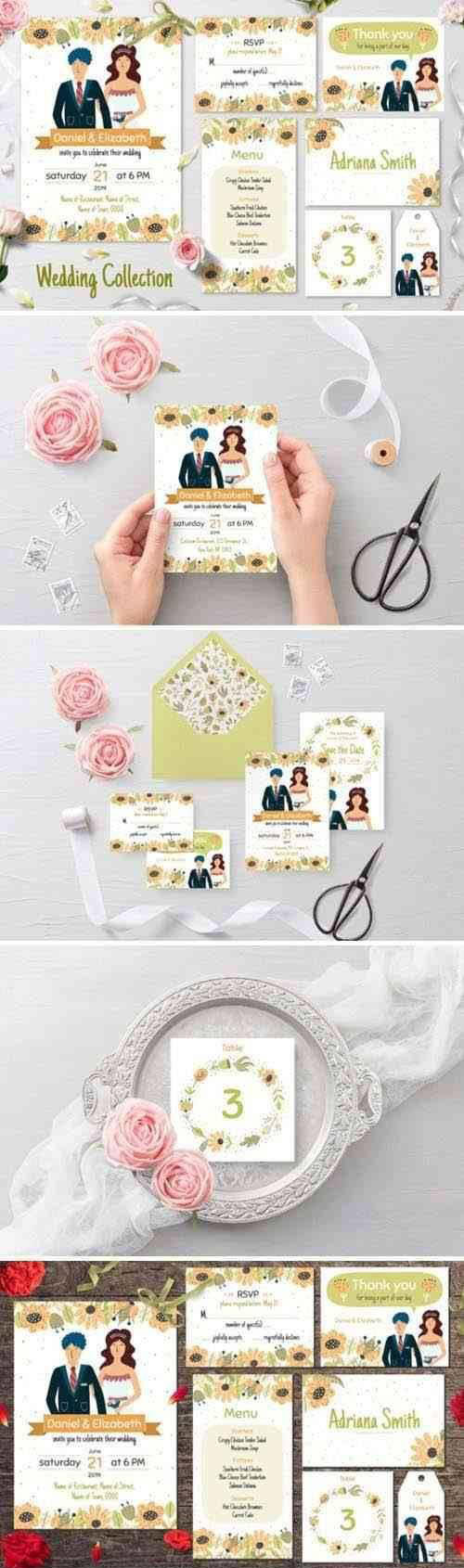 Bride and Groom Invitation Pack - 3975840