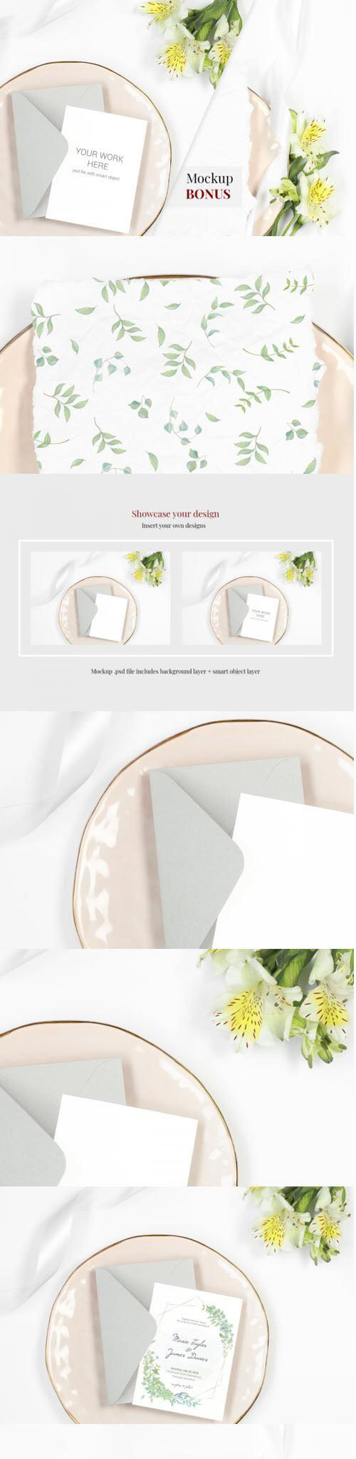 Card Mockup on plate with flowers. BONUS - 405668 - 2217976
